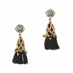 Black Crystal Tassel Earrings - 3.26
