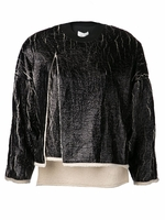 Crackled Metallic Cut Away Sweatshirt