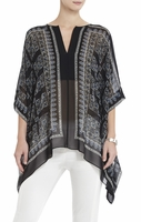 Black Dove Printed Handkerchiefhem Top
