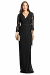 Black Dvf Julianna Lace Long Wrap Dress - 9.9