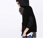 Black Embossed Knitted Hoody