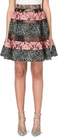 Black Floral Lace-Panel Skirt