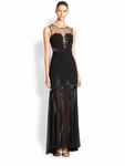Black Julianne Illusion Beaded Gown