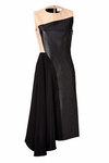 Black Leather/Silk Colorblock Dress