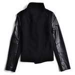 Black Leather Sleeve Jacket