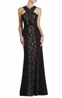 Black Maegan Criss Cross Bodice Gown