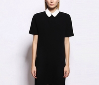 Black Shortsleeve Silk Shift Dress