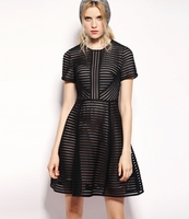 Black Striped Honeycombmesh and Brushedsatin Mini Dress