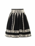 Black Striped Jacquard Skater Skirt
