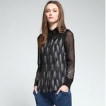 Black Wheat Print Geo Blouse