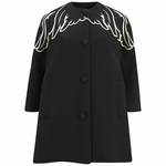 Black Wings Embroidered Wool Coat - 9.22