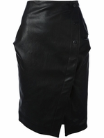 Black Wrap Around Pencil Leather Skirt