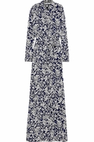 Blue Amina Printed Silk-Crepe Maxi Dress