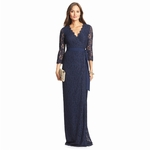 Blue Dvf Julianna Lace Long Wrap Dress - 9.9