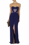 Blue Natalea Strapless Ruched-Bodice Gown