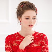 Bridal Headband with Crystals and Ruby Flowers Set FF3006
