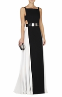 Brielle Sleeveless Side-Pleated Gown