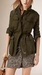 BURBERRY BRIT NUBUCK SLEEVE COTTON LINEN FIELD JACKET - 8.29