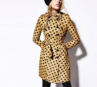 Black Heart Print Calfskin Trench Coat