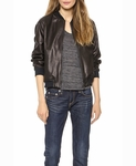BY MALENE BIRGER BLACK LEATHER BOMBER JACKET - 5.17