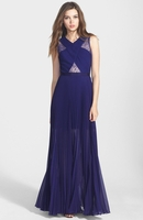 'Caia' Lace Inset Pleat Chiffon Gown