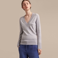 Check Merino Wool Silk Cotton V-neck Sweater