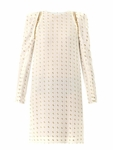White Herringbone Silkblend Dress