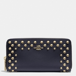 COACH ACCORDION ZIP WALLET IN STUDDED CROSSGRAIN LEATHER - 5.7
