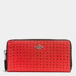 Coach Red Accordion Zip Wallet In Printed Crossgrain Leather - 4.11
