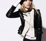 Color Block Leather Biker Jacket