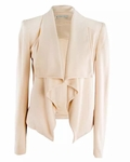 Cory Draped Leather-Detail Jacket - 6.2