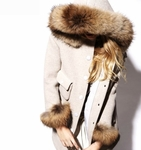 Cotton-blend twill coat with Fur Trim