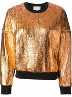 Crackled Metallic Fabric Sweatshirt