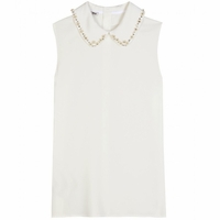 CREPE BLOUSE WITH CRYSTAL BEAD EMBELLISHED COLLAR (On Sale)
