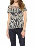 Diane von Furstenberg Black Angela Short Sleeve Top - 6.12