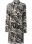 Black Leopard Print Tie Neck Dress