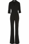 Diane Von Furstenberg Black Stacy Crepe Wrap Jumpsuit