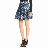 Diane von Furstenberg Blue Gemma Mikado Pleated Skirt