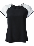 Diane von Furstenberg White Top Liva Color Block Silk - 5.2