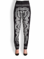 Black Silk Bandanaprint Pants