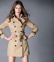 Double Breasted Trench Coat with Belted Sleeves