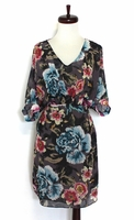 Drape Floral Printed Silk Dress