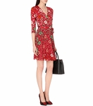 DVF Irina Silk and Chiffon Combo Wrap Dress - 9.17