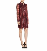 DVF Makayla Pleated Burnout Chiffon Shirtdress
