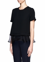 ELIZABETH AND JAMES Tierney Organza Trimmed Hem Top