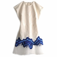 Embroidered Geode Flounce Dress