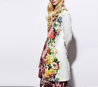 Engineered Floralprint Long Coat
