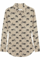 Equipment Beige Signature Printed Silk Shirt