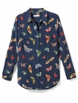 Equipment Blue Butterfly Print Shirt - 4.5