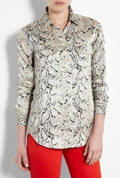 Equipment Gray Fawn Python Slim Signature Blouse